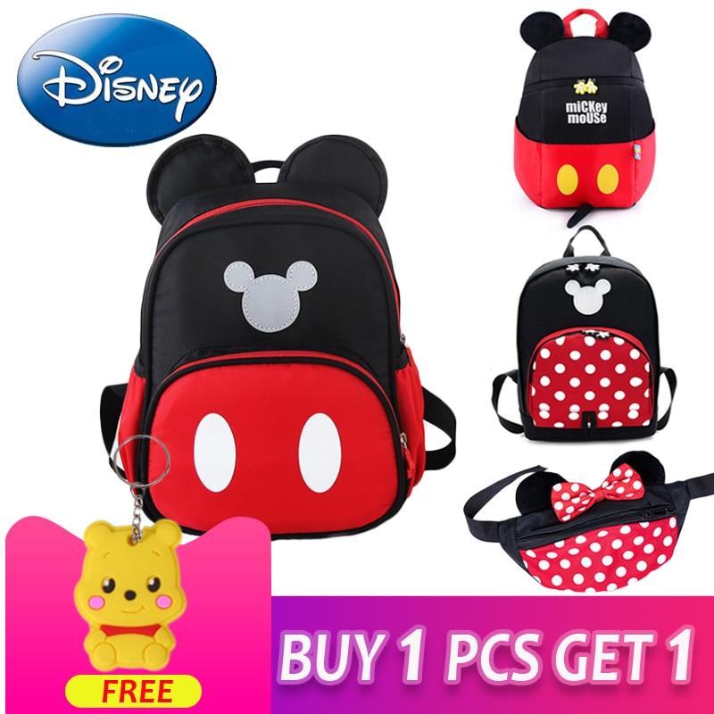 Disney 2019 New Mickey Mouse Backpack Kids Girls Boy School-Bag Cute Children Backpacks Polyester Kindergarten Cartoon Bags