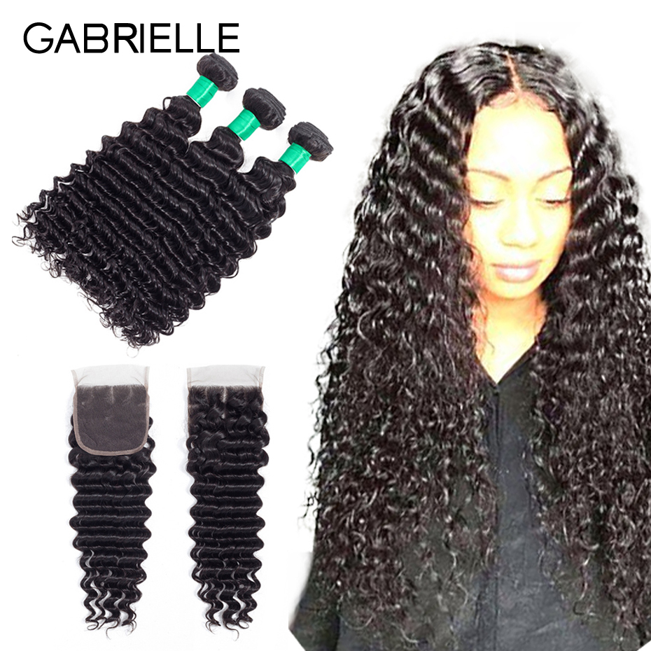 Gabrielle Peruvian Deep Wave Bundles With Closure 3 Pieces Human Hair Bundles With Closure Non-Remy Hair Weave Extensions