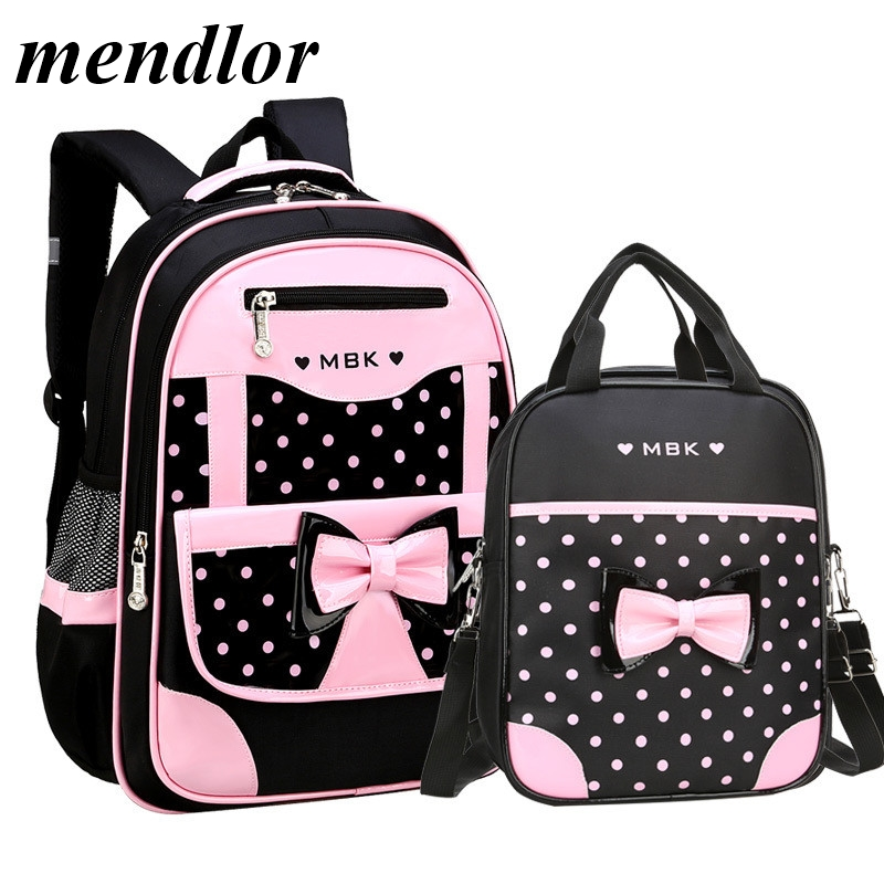 2 Pcs/Set Children School Bags For Girls Backpack Kids Dots Printing Backpacks Schoolbag Kids Waterproof Primary School Backpack