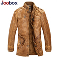 JOOBOX Push size M-4XL leather suede, thick long mens leather jacket, wool liner pilot leather jacket PU biker jacket (4G2)