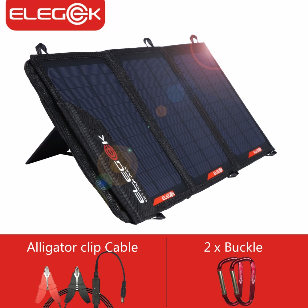 ELEGEEK 5V 18V 21W Solar Panel Charger USB DC Dual Output Portable Solar Charger with Storage