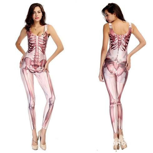 Buy 2 Color Women Rompers 3D Skeleton Print Bandage Jumpsuit Sexy Witch Costumes Erotic Lingerie Latex Catsuit Body Suit T51