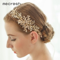 Mecresh Trendy Simulated Pearl Wedding Hair Accessories Light Gold Color Leaf Crystal Bridal Headband Party Jewelry