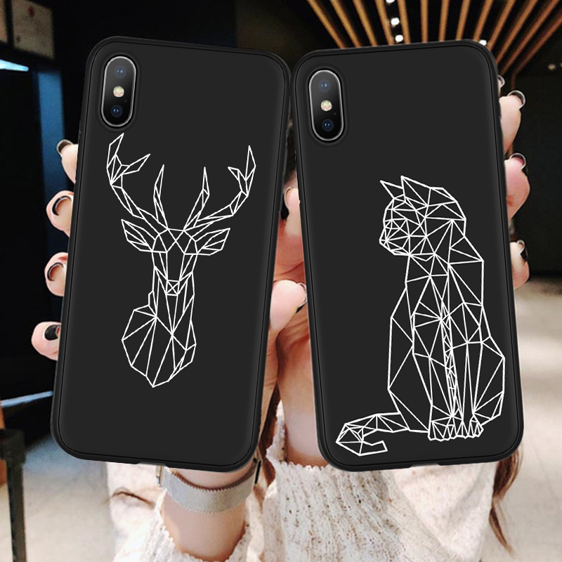 Fashion Geometric Animal <font><b>Cases</b></font> for <font><b>One</b></font> <font><b>Plus</b></font> <font><b>6</b></font> 6T <font><b>Case</b></font> Silicone Soft TPU Back Cover Bags for Oneplus 5T oneplus6 Deer Cover Coque image