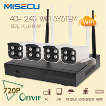 MISECU Легкая установка plug & play 2.4 Г wi-fi КОМПЛЕКТ 720 P 1080 P VGA/HDMI 4CH NVR Беспроводной P2P 720 P WIFI IP Камеры Cctv