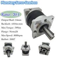 Flange 60mm Planetary Gearbox Ratio 20 1 For Nema24 Servo Motor 10ARCMIN Backlash 14mm Shaft CNC