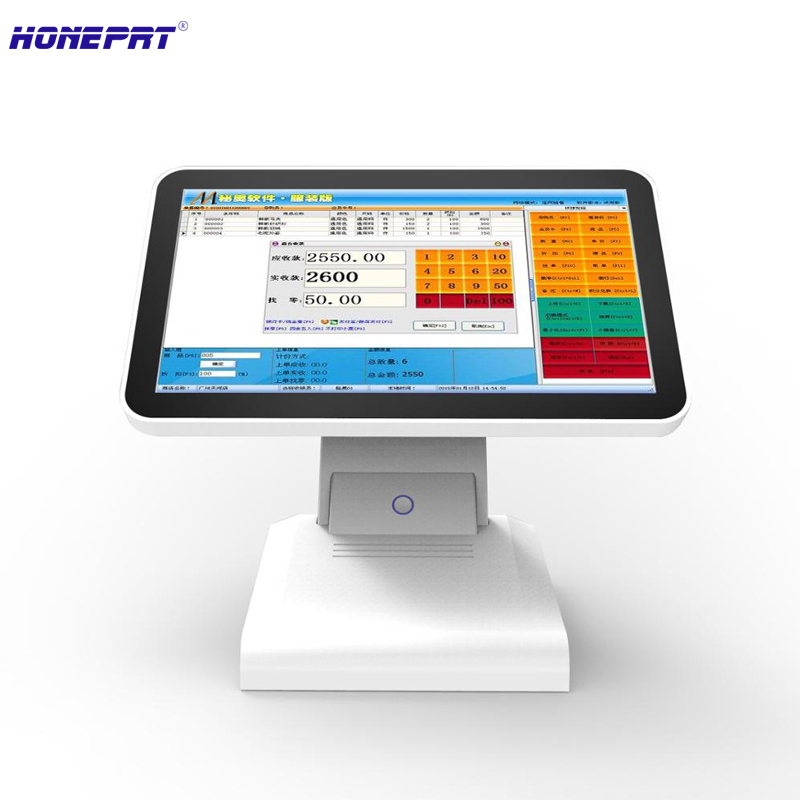15 Inch White POS Cash Register System for iPad or iPhone - Mobile Point of Sale With Built-in 58mm Printer pos hardware with 15inch single led display all in one pos cash register built in with 58mm thermal bill printer for restaurant