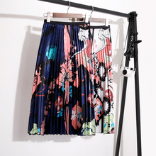 Harajuku Cartoon Pleated Long Skirts Abstract Printed High Waist Elastic Boho Skirt Korean Style Women Clothes 2019