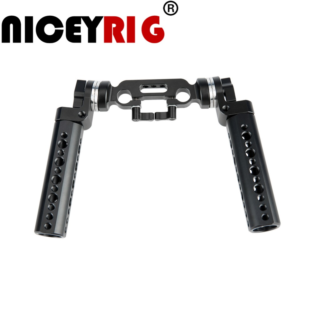 NICEYRIG DSLR Rig Handle ARRI Rosette Cheese Camera Stabilizer Handle Shoulder Rig Grip 15mm Rod Clamp
