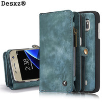 Desxz Phone Case For Samsung Galaxy S7 S7 Edge Retro Leather Zipper Multifunction Wallet 2 In1