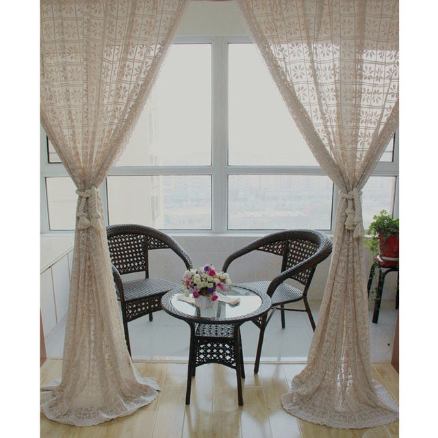 ZHH ZHH American Cotton Pure Crochet Openwork Stitching Crocheted Lace  Curtains Bedroom Curtains Ceiling Windows