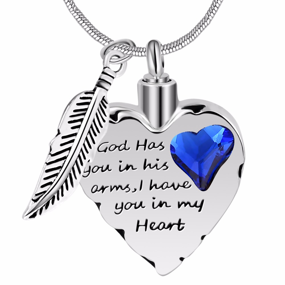 """God has you in his arms"" Heart Urn Pendant"