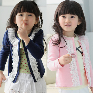 2017 children's clothing girls child autumn lace decoration baby cardigan child outerwear top,