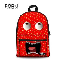 FORUDESIGNS Emoji Women Backpack for Teenage Girls Canvas Book Bag 2017 3D Monster Pink Print Bagpack School Backpacks Female