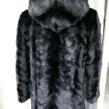Real Piece mink fur coat with hood For Women Natural Mink