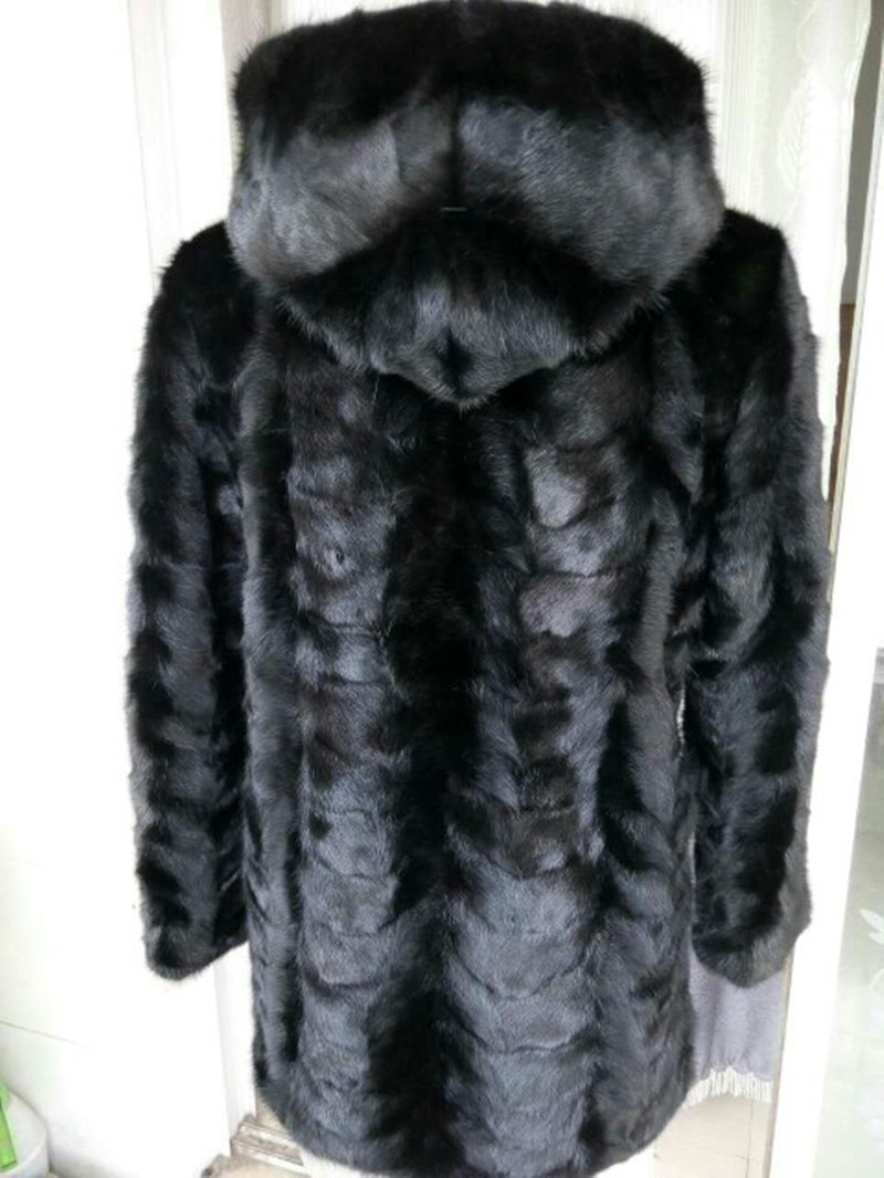 Real Piece mink fur coat with hood For font b Women b font Natural Mink Fur