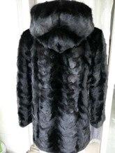 Verdadeiro Pedaço de pele de vison casaco com capuz Para Mulheres Natural Mink Fur Jacket Outwear