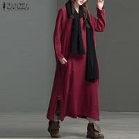 Plus Size 2017 ZANZEA Autumn Pockets Crew Neck Long Sleeve Cotton Linen Split Hem Women Baggy