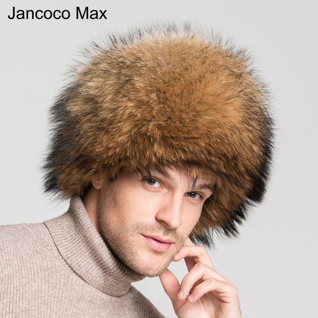 3b8194fce1146 Jancoco Max New 100% Real Raccoon Fur Hats Mongolian Style Natural Spring  Winter Outdoor Warm Caps S3073