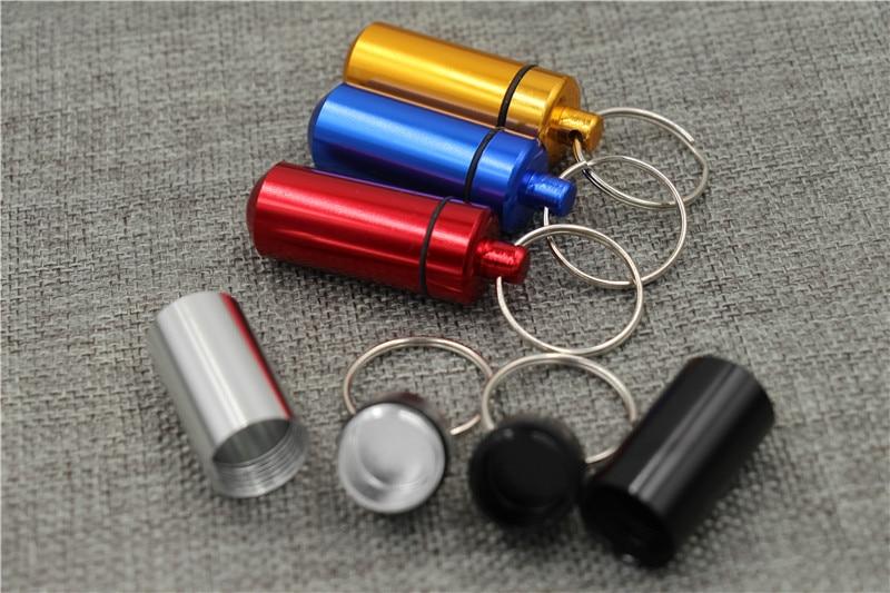 10pcs Smoking Accessories pill case hidden Metal key ring mini metal storage case portable herb Tobacco Storage Case bottle box