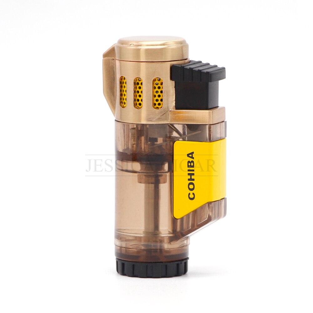 Гаджеты для Для мужчин бутан газовые зажигалки прозрачный сигареты Fire Starter 3 Jet Blue Flame курить легче для сигары cohiba