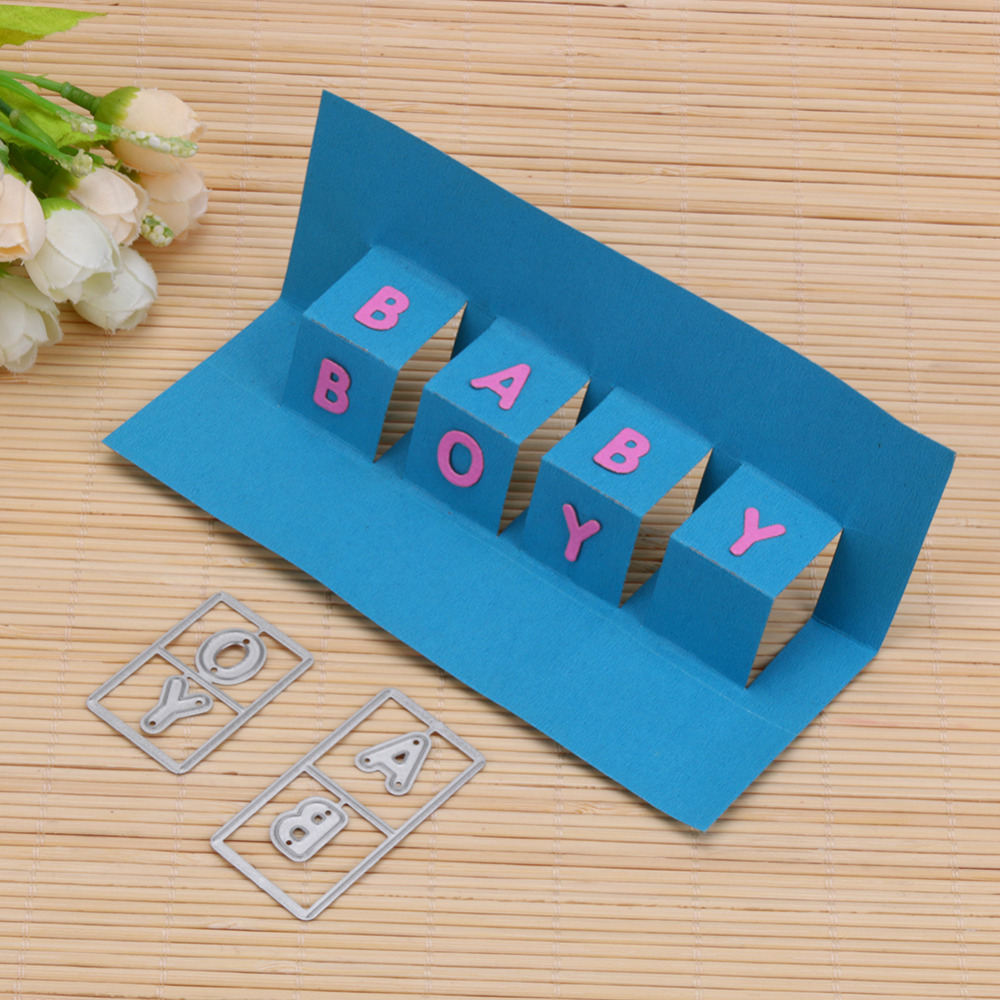 New letters baby boy pop up cards metal cutting dies for for Pop up card craft