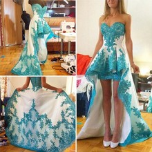 Elegant Sky Blue Lace Applique Hi-Lo Sexy Evening Dresses Sweetheart Girls Fashion Special Occasion Prom Party Gowns for Women