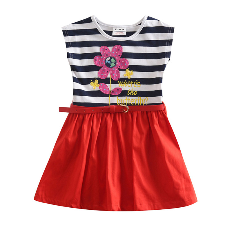 NOVATX kinderen meisje jurken gestreept met riem katoenen kinderen - Kinderkleding - Foto 1