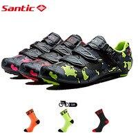SANTIC Bike Cycling Road Giày Sợi Carbon Thở Cưỡi Thể Thao Racing Đội Xe Đạp Giày Sapatilha Zapatillas Ciclismo