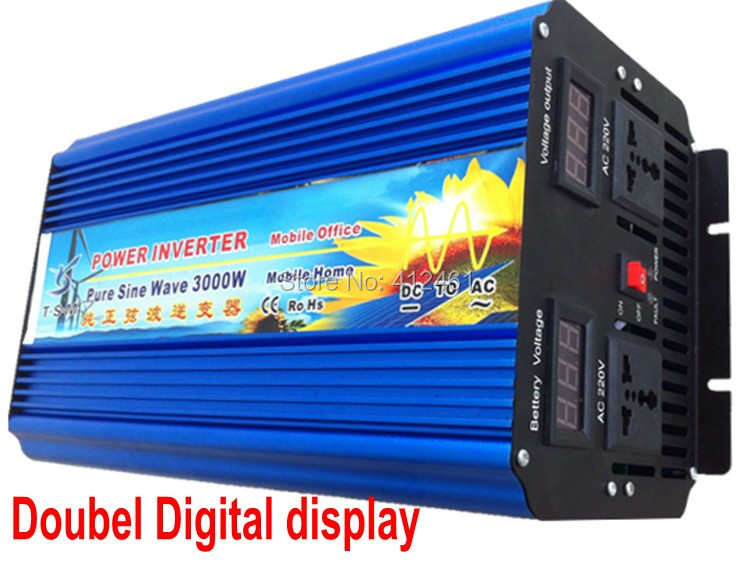 6000W Peak 3000W Power Inverter Pure Sine Wave DC 24V to AC 220V Solar/Wind/Car/Gas Power Generation Converter PSW inverter