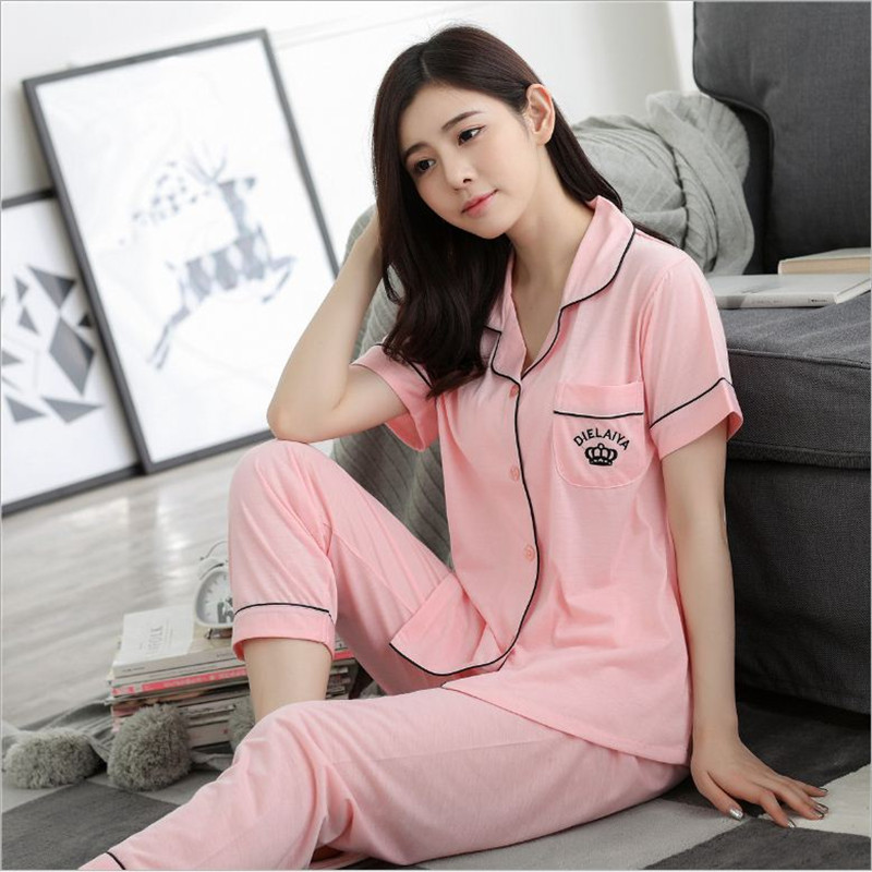 New Womens wearing loose pajamas sets comfortable Short sleeve Nightdress Silk Imitation Indoor Clothing sweet Girl Sleepwear