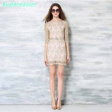 Elegant Gold Embroidery Women Mini Dresses Half Sleeve Organza Lace Dress 2016 Sexy Autumn Winter Party Evening Club Dress