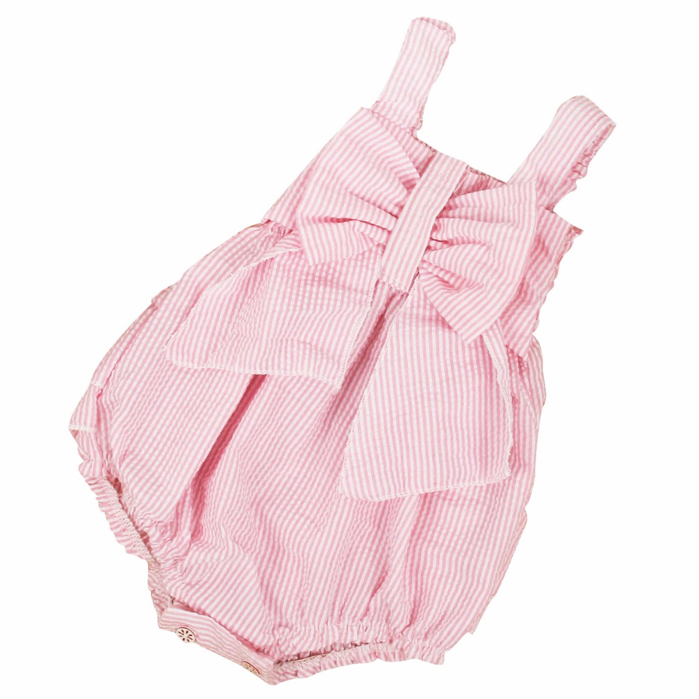 Puseky 2017 New Summer Baby Romper Baby Girl Pink Strip Rompers Infant Toddler Jumpsuit Newborn Baby Girl Clothes With Bow 0-24M summer cotton baby rompers boys infant toddler jumpsuit princess pink bow lace baby girl clothing newborn bebe overall clothes