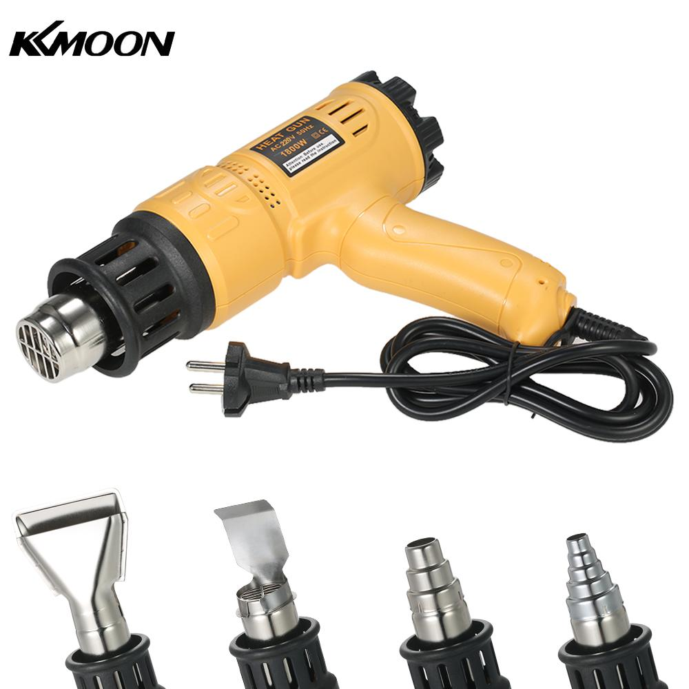 KKmoon 1800W Industrial Hot Air Gun Adjustable Temperature Speed Hot Heat Shrink Blower Tool with 4 Nozzles AC220V EU Plug laoa 1800w heat gun temperature adjustable hot air gun with over load protect hot air blower