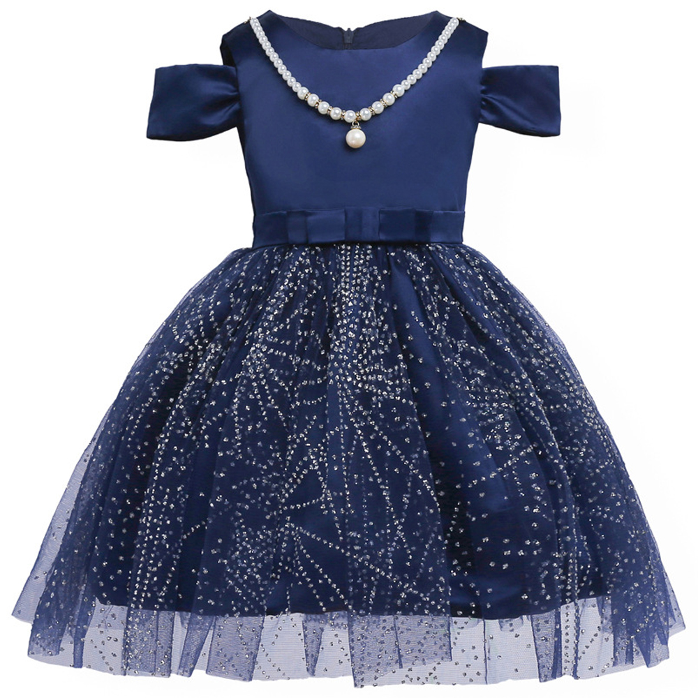 2017 Summer Princess Party Dresses Flower Girls Dress Sequins Bow Royal blue Wedding Pageant Children Clothes Size 2-10 girls dress 2016 summer bow flower princess dress vest in korean children s special color printing clothes