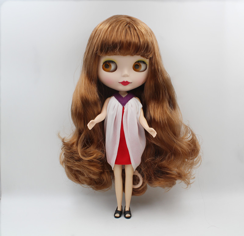 Blygirl,Blyth doll,Light brown wavy bangs, frosted surface, normal body, 7 joints, 1/6 dolls, 30cm, can be replacedBlygirl,Blyth doll,Light brown wavy bangs, frosted surface, normal body, 7 joints, 1/6 dolls, 30cm, can be replaced