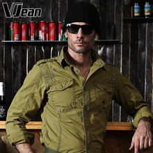V JEAN Men's Vintage Pigment Dyed Military Shirt #6A255