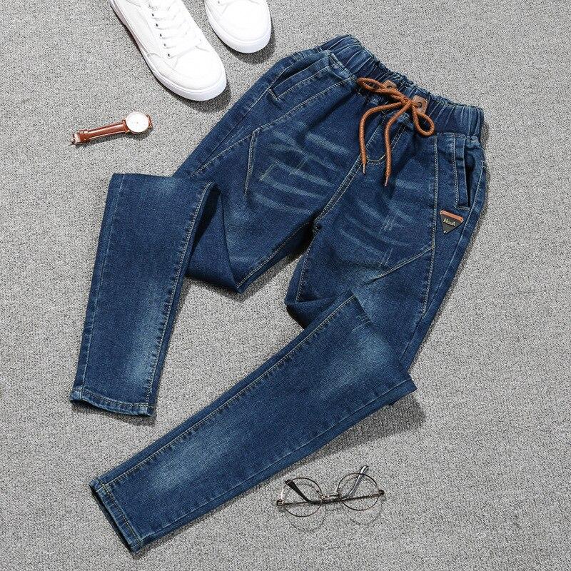 2018 Autumn Fashion   Jeans   Women Large Code   Jeans   High Waist Denim Ladies Pants High Elastic Pencil Pants Plus Size