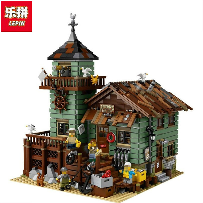 Lepin 16050 2109Pcs MOC Series The Old Finishing Store Building Blocks Bricks Toys For Children gifts Compatible 21310 lepin 16050 model building kits compatible with lego 21310 2109pcs moc series the old fishing store set building blocks bricks
