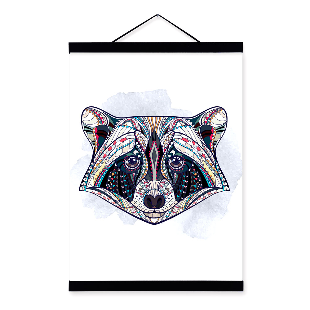 Modern Ancient <font><b>African</b></font> National Totem Animals Raccoon Head A4 Framed Canvas Painting Wall Art Prints Picture Poster <font><b>Home</b></font> <font><b>Decor</b></font>