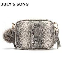JULYS SONG New Fashion Womens Bag Crossbody Snake Skin Print Handbags Serpentine Shoulder Bags Ladies Fur Ball Leather