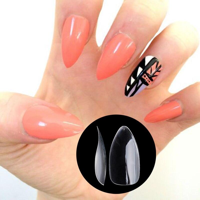 Nadeco New Fake Nail in Shark Shape, Plain Nail Sticker, Salon Nail ...