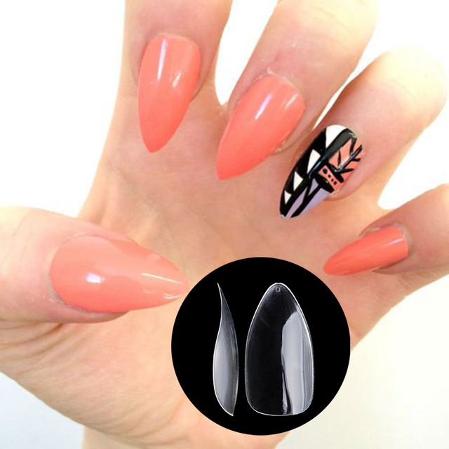 Nadeco New Fake Nail In Shark Shape Plain Sticker Salon Tips