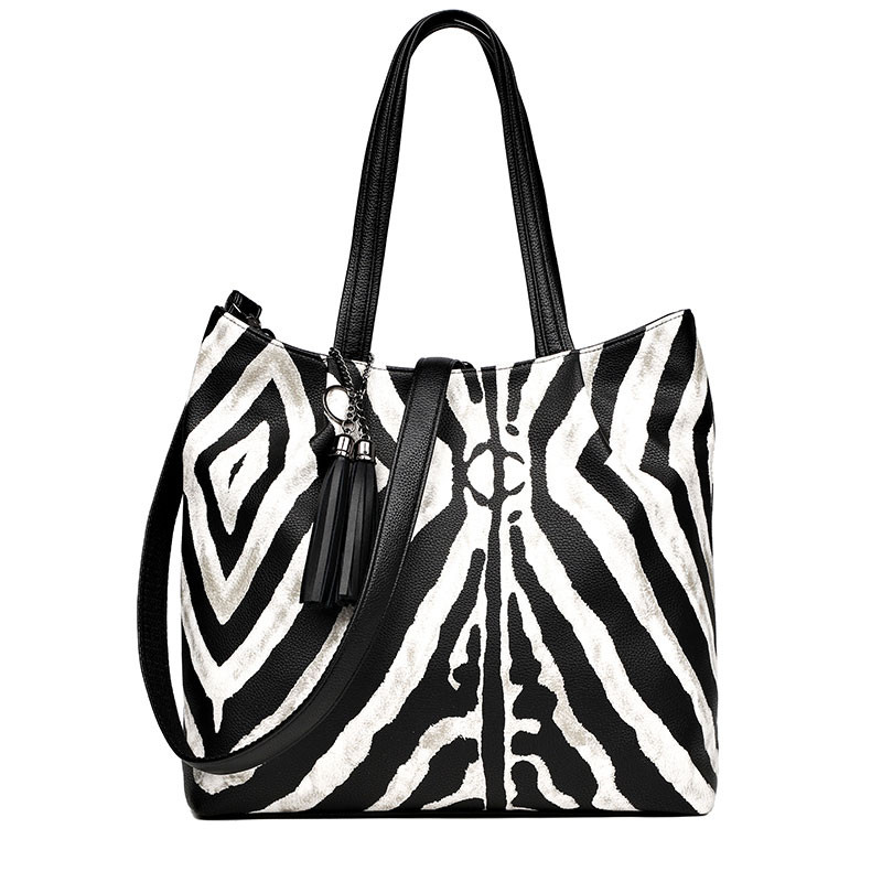 Luxury Zebra Pattern Handbags Women Bags Designer Tassel Large Capacity Shoulder Bag Ladies New Messenger Bags Casual Big Totes цена