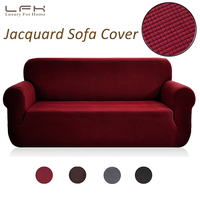 LFH Stretch Slipcovers Furniture Protector with Elastic Red Color Spandex Jacquard Fabric Futon Sofa Cover Chair Loveseat Cover