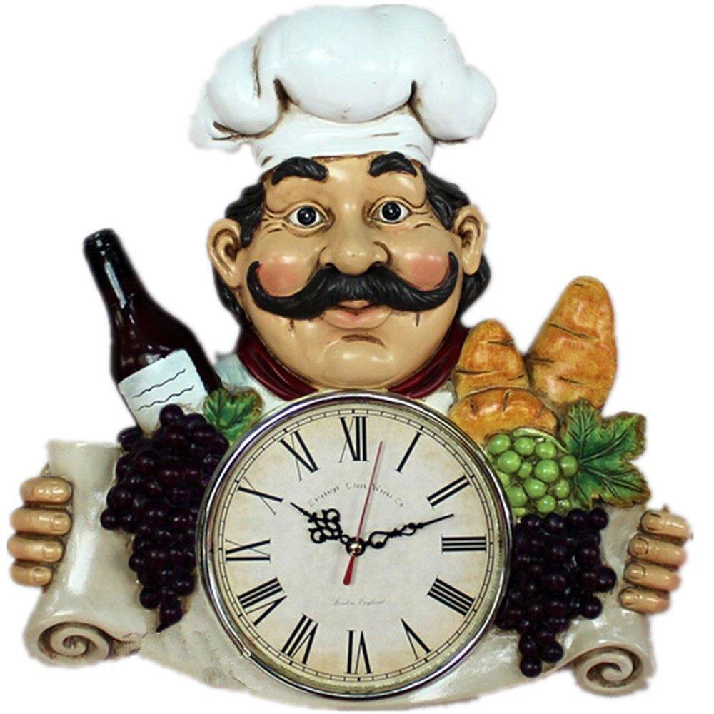 chef wine resin handicraft wall clock for cafe u0026