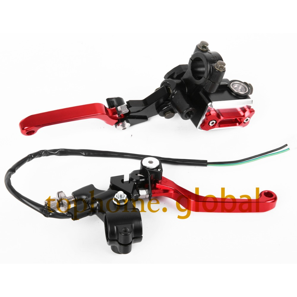 CNC 7/8Brake Master Cylinder Pressure Switch Reservoir Levers For Honda CR80R CR85R 1998-2007 Red 2006 2005 2004 2003 2002 2001 cnc 7 8 for honda cr80r 85r 1998 2007 motocross off road brake master cylinder clutch levers dirt pit bike 1999 2000 2001 2002