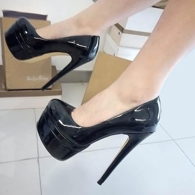 bd92fd7c7c6 Onlymaker Pumps Shoes Women's 16cm Thin High Heels 4cm Platform Sexy  Stilettos Patent Leather Party Dressing Shoes Plus size 15