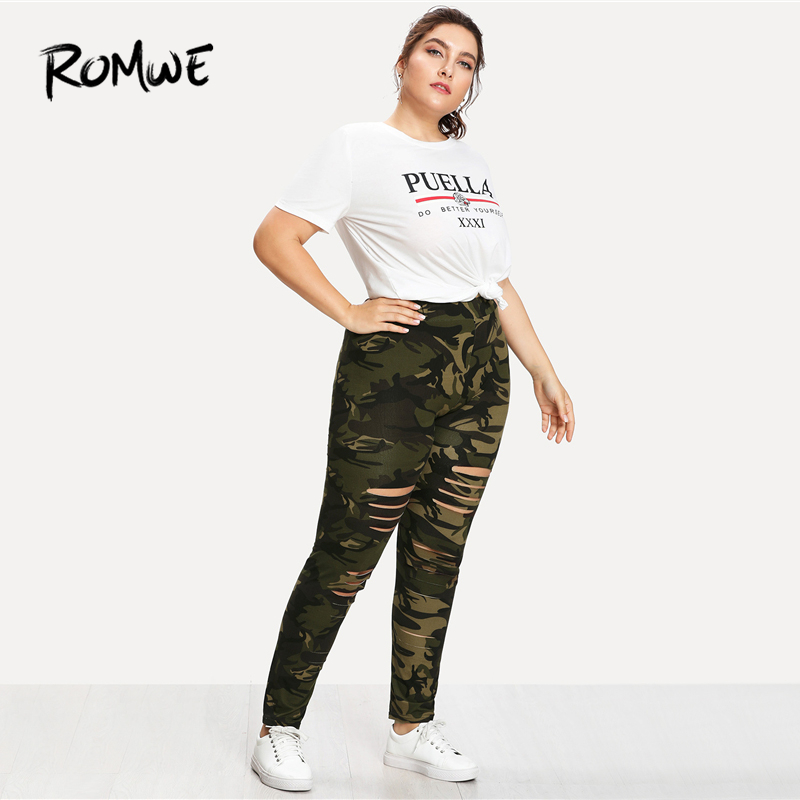 858af581ae7f3 ROMWE Plus Size Camouflage Ladder Ripped Legging Women Casual Summer  Fashion Weekend Casual Pants Female Sporty Plain Sweatpants-in Leggings  from Women s ...