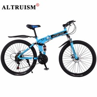 Altruism X9 Mountain Bike Steel Floding Bicycle 21 Speed 26 Inch Bicicleta Bisiklet Bmx Double Disc
